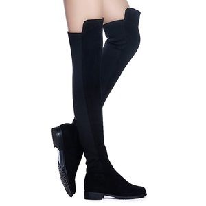 Faux Suede Low Flat Heel Stretch Knee Boots
